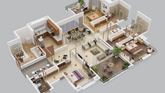 Popular  Bedroom Apartment House Plans