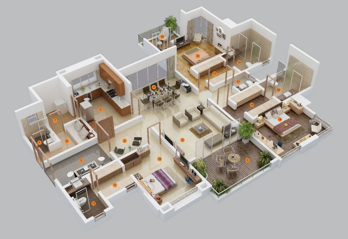 3 bedroom apartment house plans for Apartment design plans 3d
