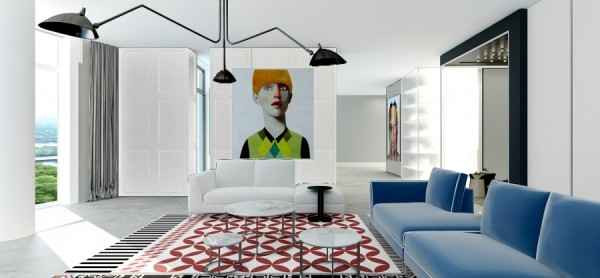 The first apartment is none too large at 350 square meters, but still packs plenty of colorful design elements.