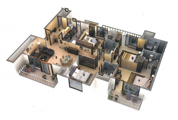 This luxury four bedroom from Ansal Housing includes four regular bedroom and a servant's quarters. Fancy that.