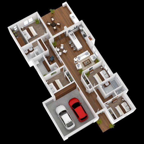 This Four Bedroom House Manages To Make Room Four Two Cars, Four Bedrooms,  And