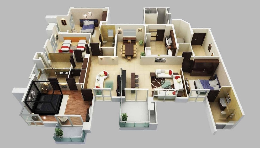 One Floor Apartments 4 bedroom apartment/house plans