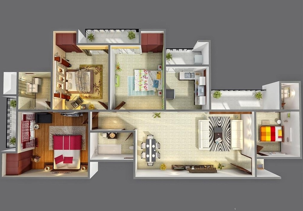 4 bedroom apartment house plans for Planos de casas 3d
