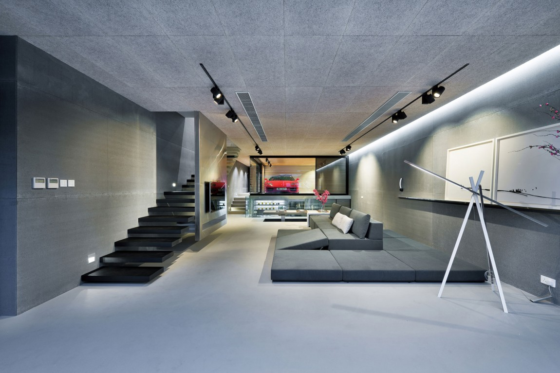 Gray Living Room - Modern remodel in hong kong with a ferrari as focus