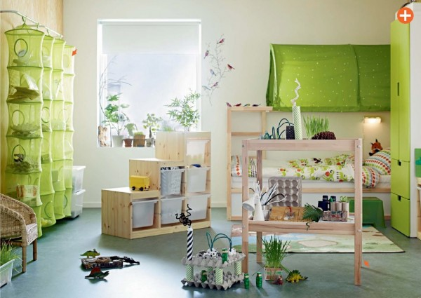green kids room ikea