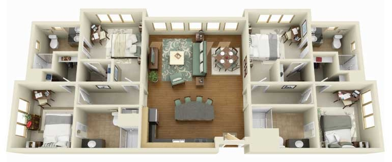 Bedroom Apartment Floor Plan 4 bedroom apartment/house plans