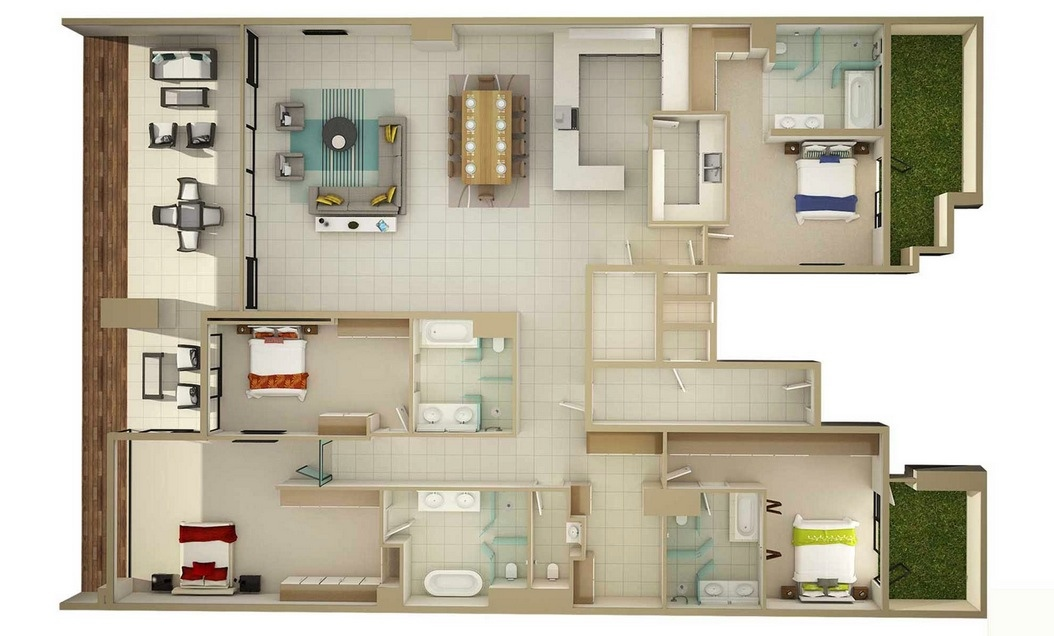 4 bedroom apartment house plans - Design of three room apartment ...