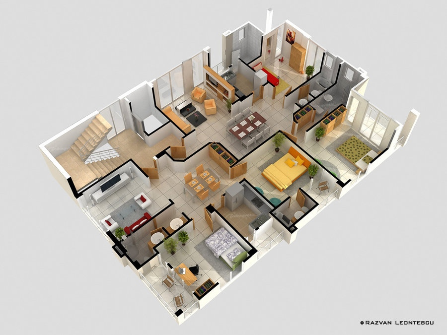 4 bedroom apartmenthouse plans - House Plans Designs
