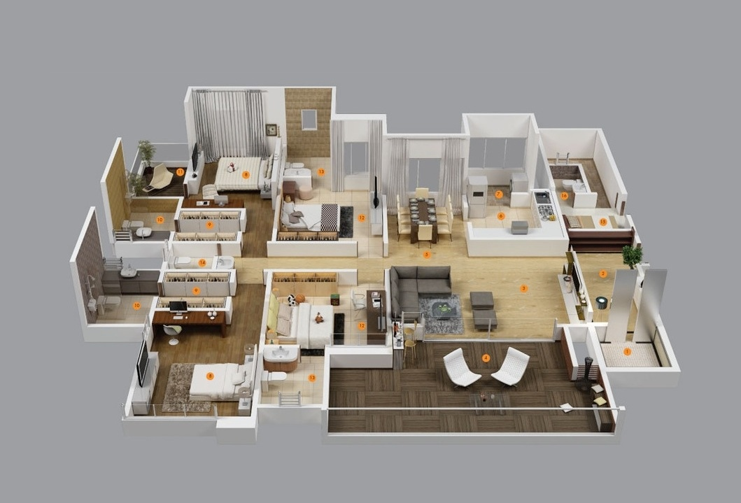 Cool 4 Bedroom Apartment House Plans Largest Home Design Picture Inspirations Pitcheantrous