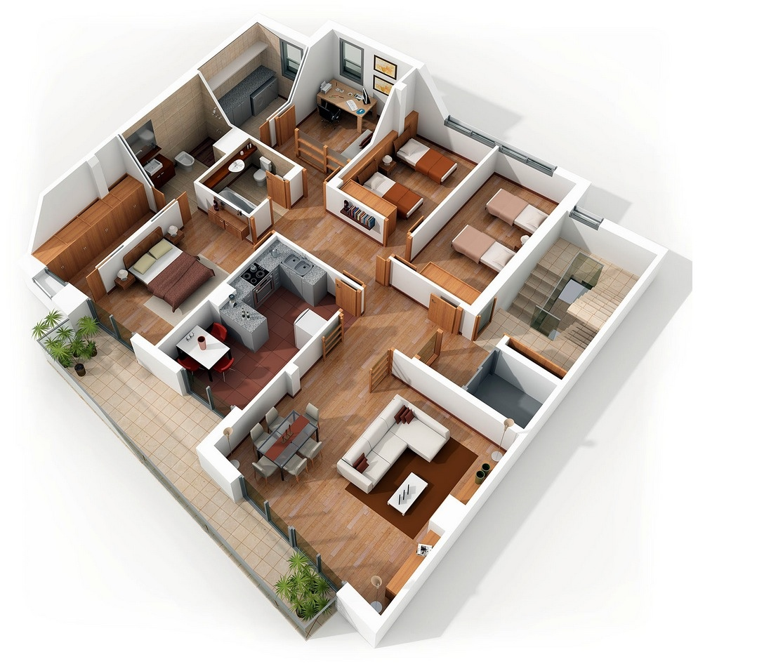4 bedroom apartment house plans for Home plans 3d designs