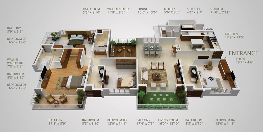 4 bedroom apartment house plans for 4 bedroom luxury apartment floor plans