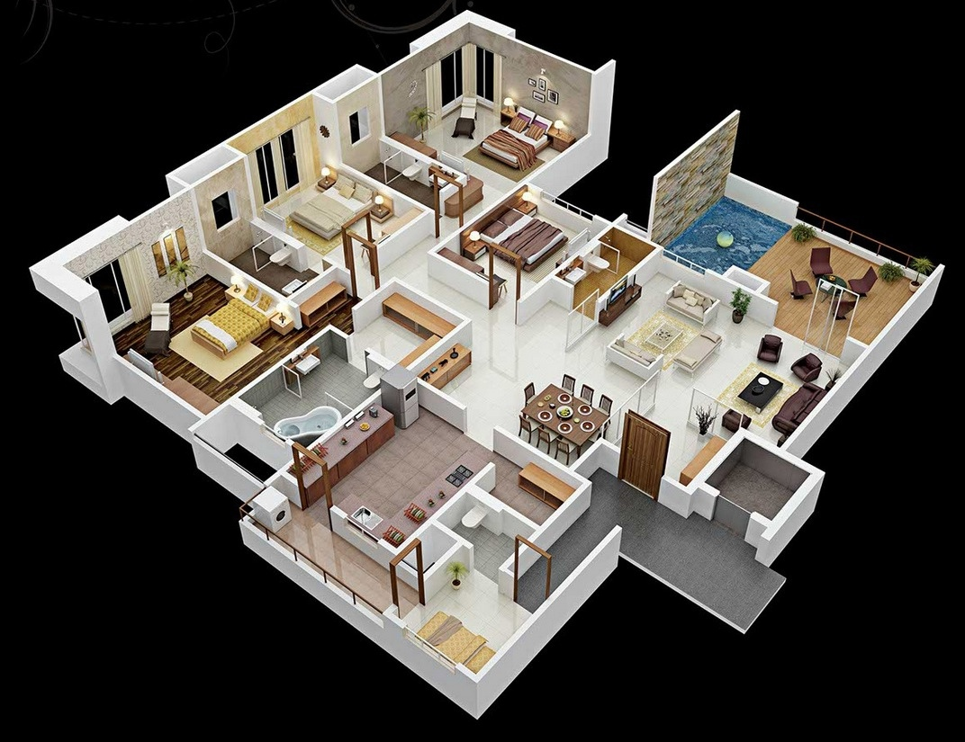 4 bedroom house floor plans 3d - 4 Bedroom House Floor Plans 3d 1