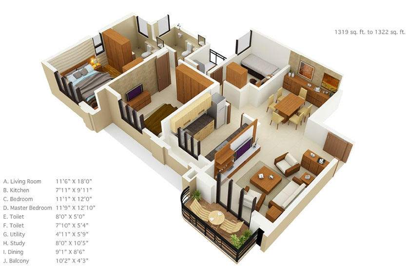 House plans under 1500 square feet interior design ideas for 40m apartment design