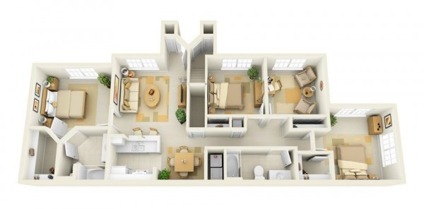 4 Bedroom Apartments