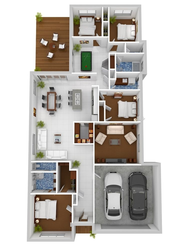 4 bedroom apartment house plans for Three bedroom apartment layout