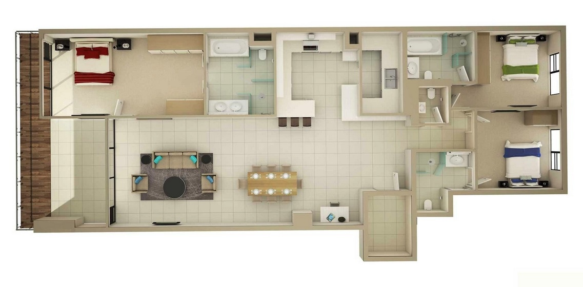 3 bedroom apartmenthouse plans - Large Living Room House Plans