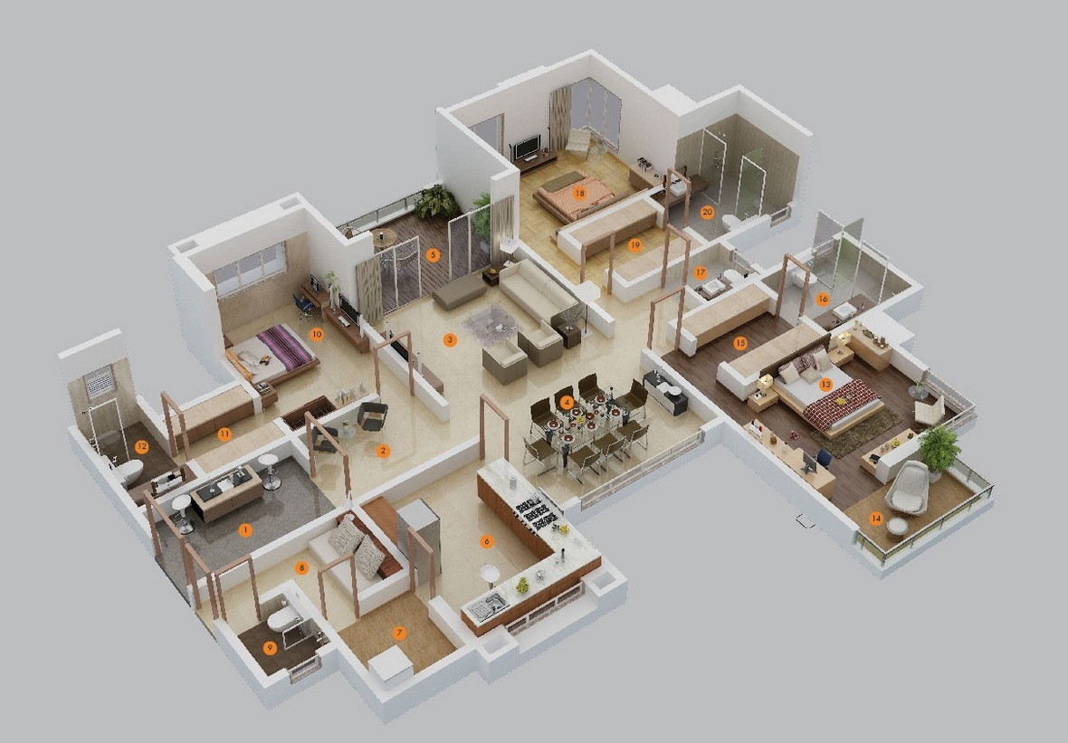 3 bedroom apartmenthouse plans - 3d Plan Drawing