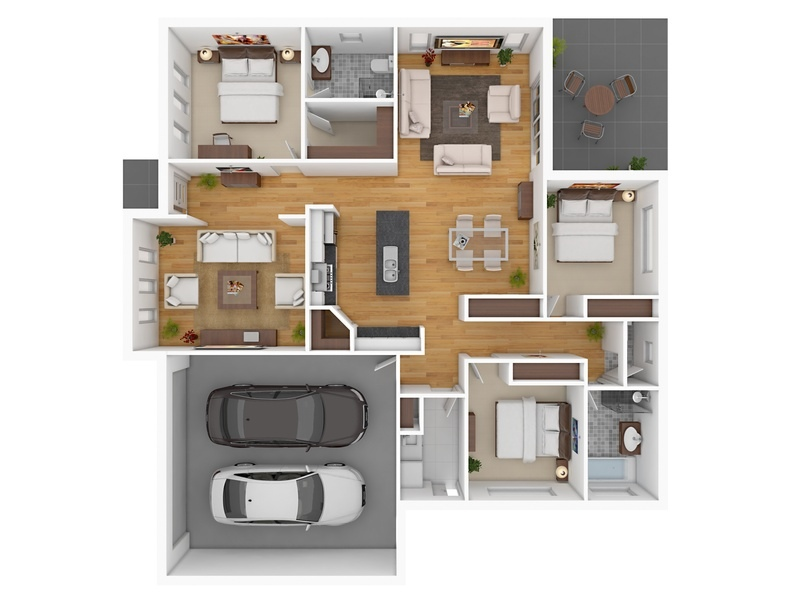 3 bedroom apartment house plans for Large apartment floor plans