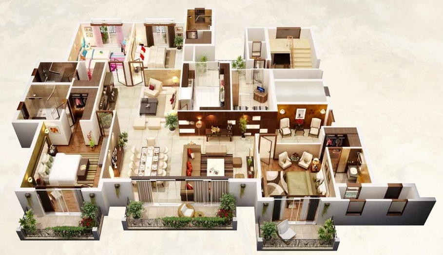 4 bedroom apartment house plans for Large home plans