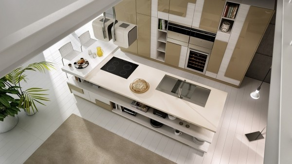 A glowing white kitchen can feel a bit too sterile so U6 Studio has brought in some light colored wood to warm things up in this open kitchen design.