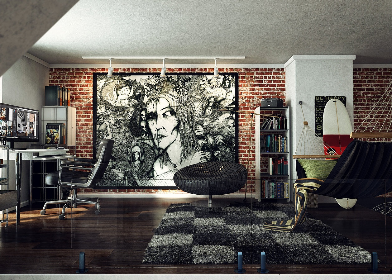 Loft wall art work interior design ideas for Decoration loft