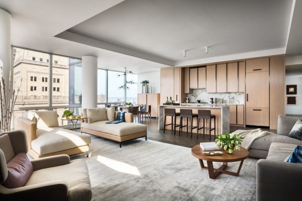 Hugely spacious for Manhattan, the open floorplan and massive windows make the condo seem even larger.