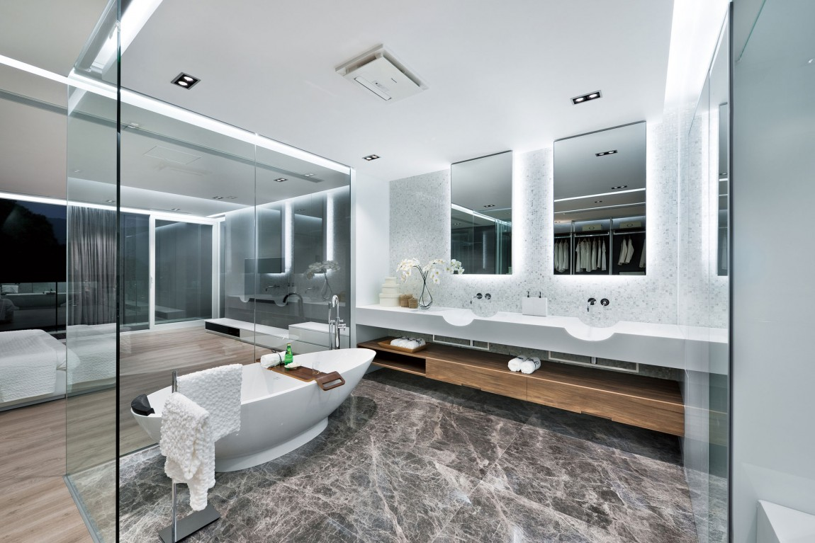 Marble Tiled Bath - Modern remodel in hong kong with a ferrari as focus