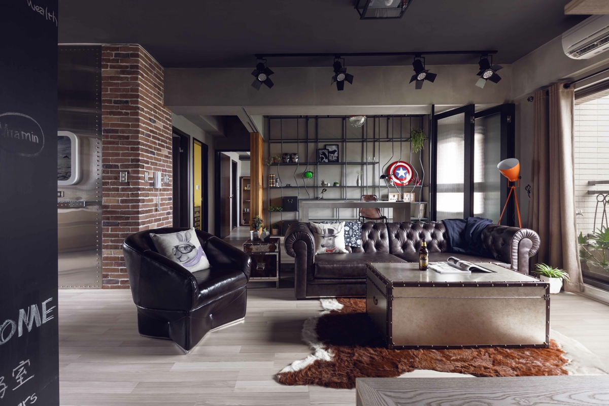 Fabulous marvel heroes themed house with cement finish and for Modern bachelor pad ideas