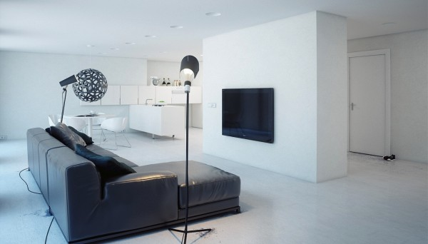 minimalist white apartment