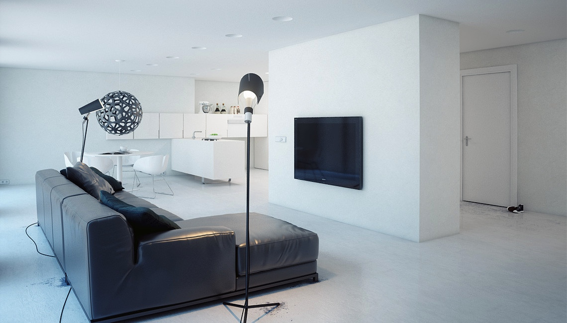 A super minimalist modern apartment in white for Minimalist apartment living room