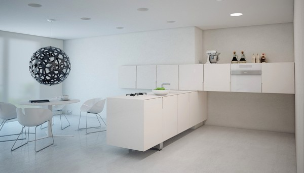 A minimal kitchen that would just be enough for a breakfast, coffee or a light snack is all the owners wanted.