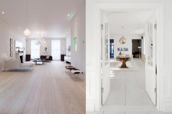 Two Douglas fir flooring styles in two separate homes, each featuring hanging light fixtures and minimalist modern furnishings.