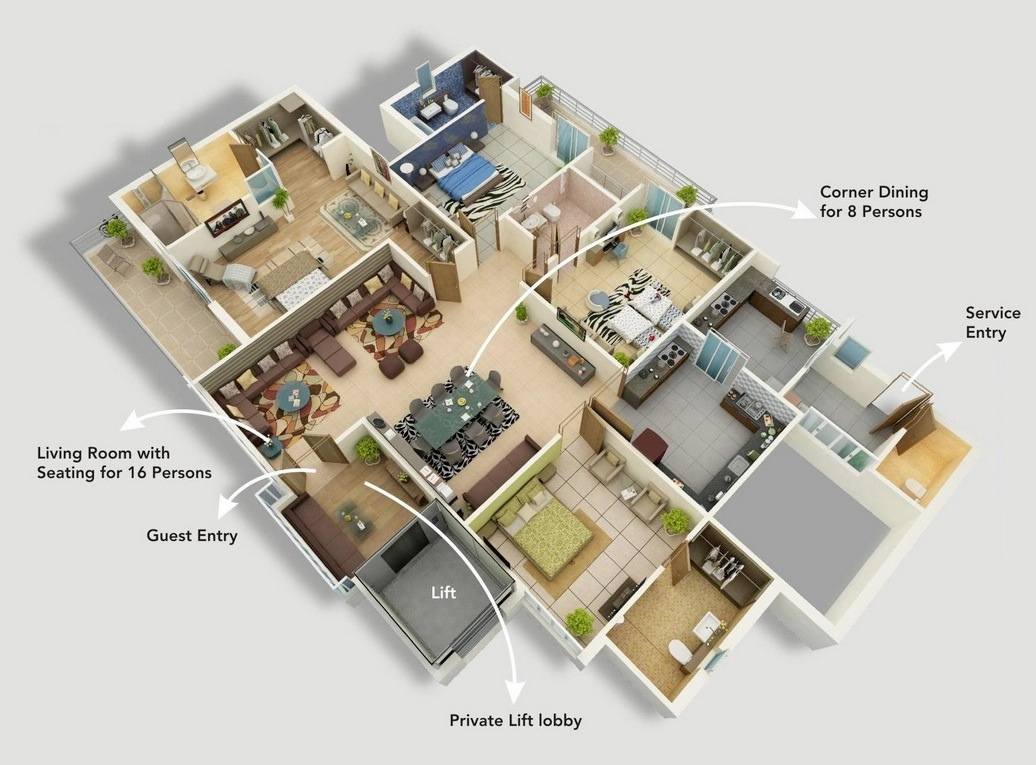 4 bedroom apartment house plans for Apartment floor plan