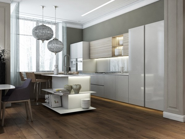modern island kitchen open shelving