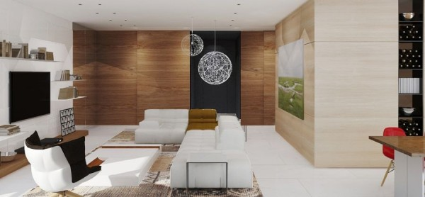 The designers manage to make wood paneled walls modern again by mixing tones in the living area.