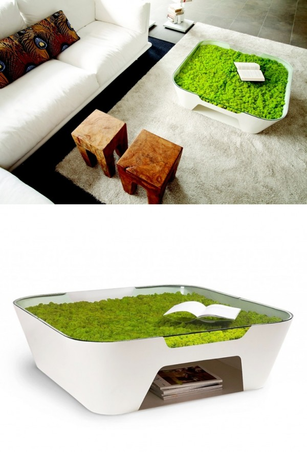 Bringing in elements of nature is one thing, but this coffee table is nature itself. With a mossy growth underneath the glass tabletop, this look is incredibly unique and very eco-friendly.