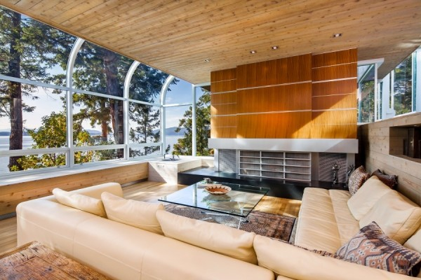 Curved skylights look a little dated now, but in 1974, when the house was first conceived, they were a cutting-edge way to expand the view and let in more natural light.