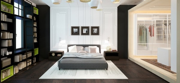 This bedroom is funky but not crazy with lime green accents and an enviable walk in closet.