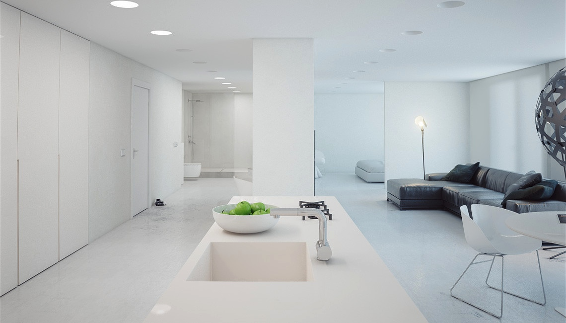 A super minimalist modern apartment in white for Minimalist one room apartment