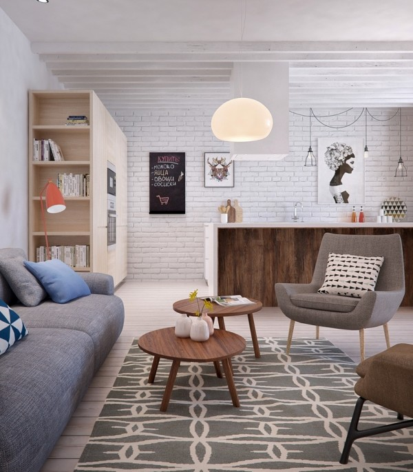 This apartment stays true to a neutral background, particularly with its light color floor and white brick walls, but Int2 uses these neutrals as a backdrop for a warm and welcoming palette that includes coral and blue.