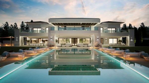 reflecting pool 600x336 Luxurious 9 Bedroom Spanish Home With Indoor & Outdoor Pools