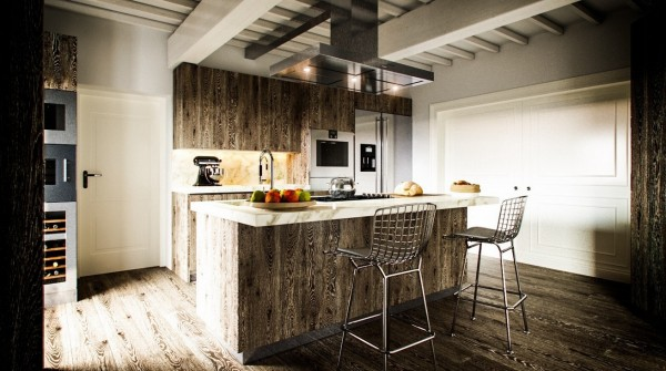 Rustic is the key to this kitchen design, which uses warm natural wood from floor to ceiling.