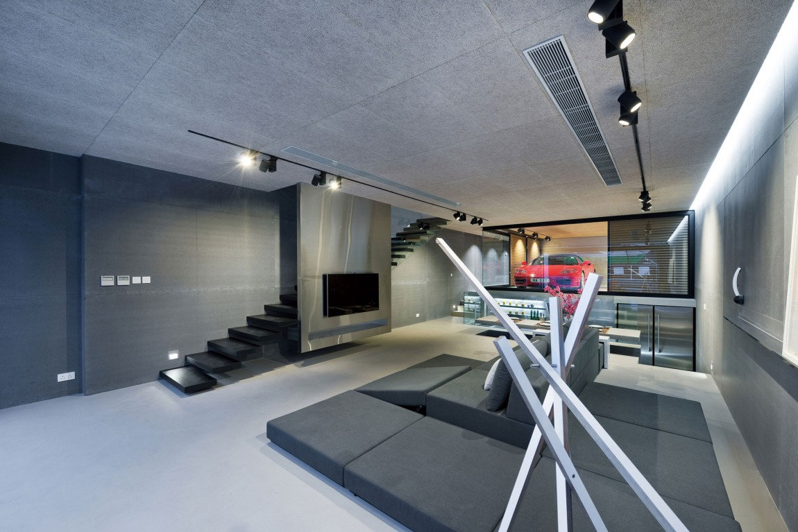 Silver Design Ideas - Modern remodel in hong kong with a ferrari as focus