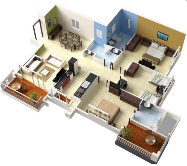 3 bedroom apartment house plans for Best interior designs for 3 bhk flats