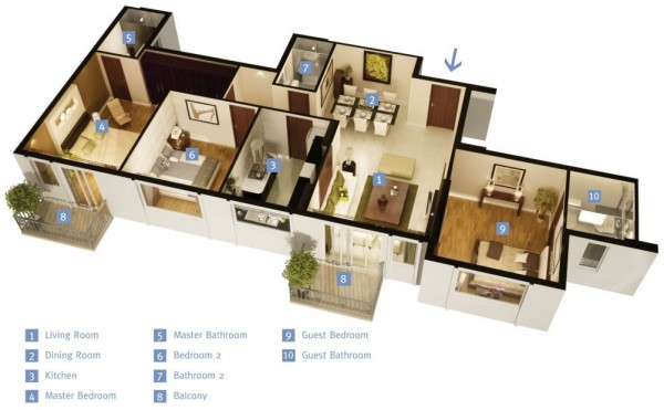 45  Source DLF 3 Bedroom Apartment House Plans