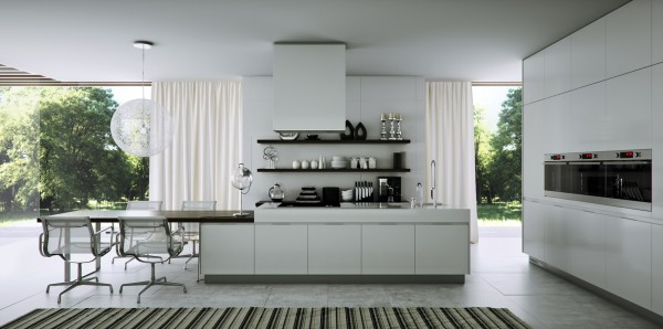 Tucking bulky appliances like a stove into the wall makes this gleaming white kitchen seem that much more orderly.