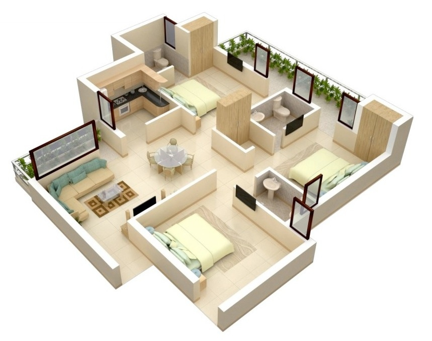 3 bedroom apartment house plans House plan 3d view