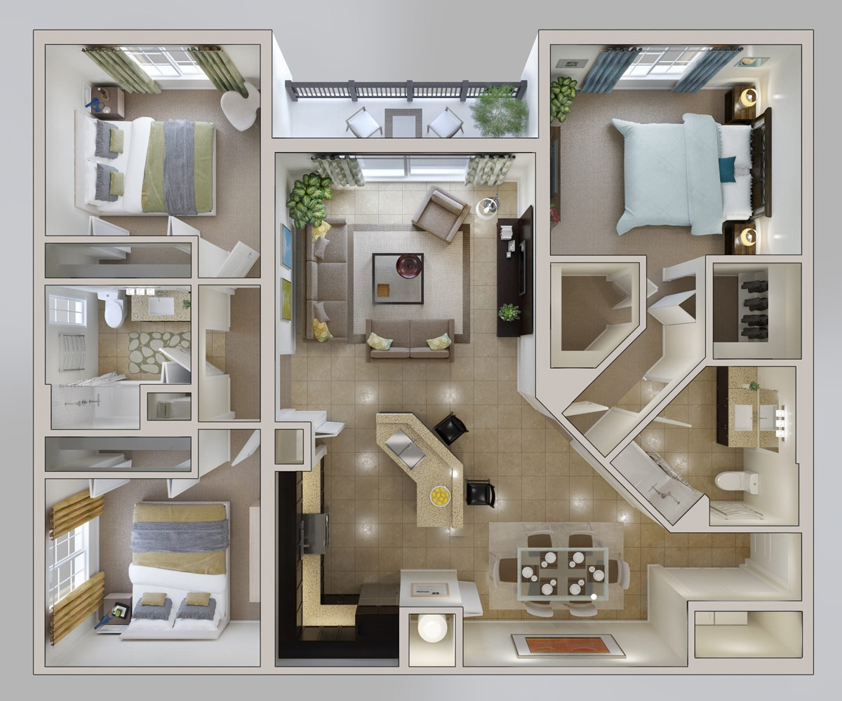 25 three bedroom houseapartment floor plans - 3 Bedroom House Floor Plan