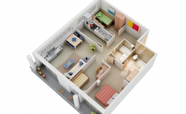 Proving you do not need square footage to fit three bedrooms comfortably is this floor plan. A master bedroom with ensuite bath and two smaller rooms for children and guests are perfectly spaced.