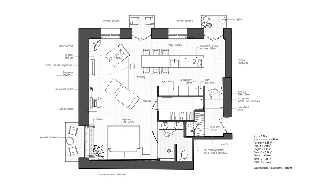 small studio apartment plan | interior design ideas.